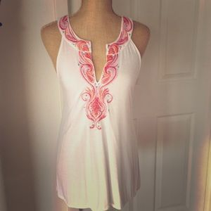 White embroidered beaded T cut front and back TOP